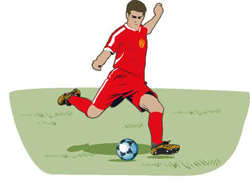 A football player in red uniform kicking a football