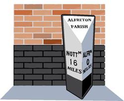 Alfreton Parish Mile Post, 16 miles to Nottingham, 0 to Alfreton