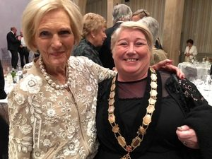 Celebrity Mary Berry with her arm around Mayor Mary Kerry