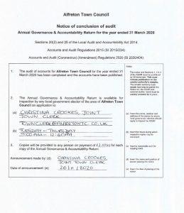 Alfreton Town Council, Notice of conclusion of audit document image.